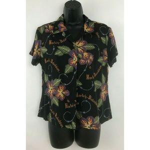 Harley Davidson Motor Cycles Floral Hawaiian Shirt